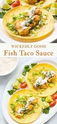 Wickedly Good Fish Taco Sauce – hands down, the best fish taco sauce I've ever had! White Sauce Recipe Microwave, Salmon White Sauce Recipe, White Sauce Recipe For Fish Tacos, Recipe For Fish Pie, Fish Taco White Sauce, Mexican White Sauce, Chicken White Sauce, Fish Taco Sauce