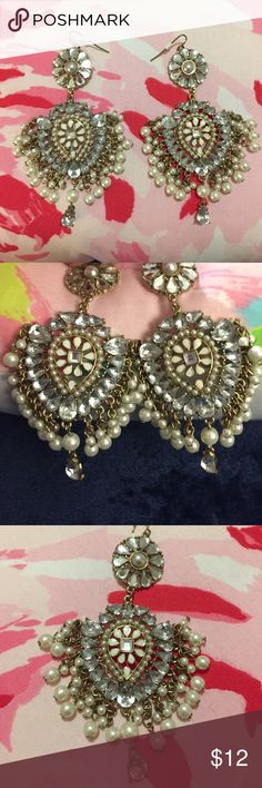 F21 Chandelier Statement Pearl & Crystal Earrings Barely worn, silver earrings with pearls and crystals, 3.5 inches tall Forever 21 Jewelry Earrings