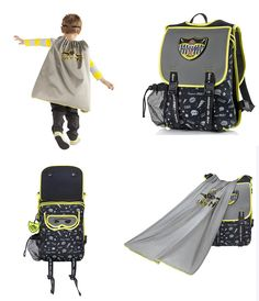 Ninja Graffiti Cape Backpack - Superhero Backpacks for Boys - From the outside, it is a sleek and super functional backpack. But just as quick as a superhero can transform identities, this backpack converts into a superhero dress up costume by simply pulling the hidden cape out of a pocket at the top of the backpack. Superhero eye mask included to complete the transformation. The bags are made from environmentally friendly, insulating EVA to keep snacks & drinks fresh. Great for preschool.
