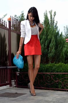 I can appreciate any outfit with a blazer and bold skirt!