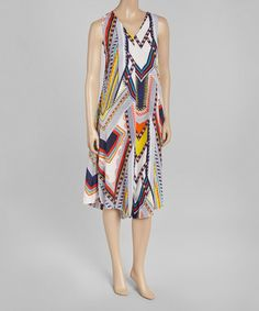 Another great find on #zulily! White & Yellow Abstract Chevron Sleeveless Dress by Blue Plate #zulilyfinds