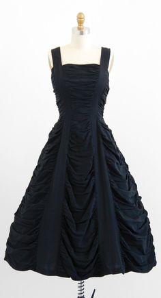 vintage 1950s heavily ruched Tim Burton or Edward Gorey style black evening dress | http://www.rococovintage.com