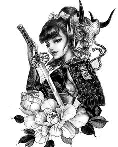 Chronic Ink tattoo Cindy asian-style tattoo Female samurai w sword - - Japanese Tattoo Art, Japanese Tattoo Designs, Japanese Sleeve Tattoos, Female Samurai Tattoo, Tattoo Female, Yakuza Tattoo, Geisha Tattoo Design, Japan Tattoo Design, Arte Cholo