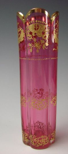 Antique Moser Rose Cranberry Opalescent Opaline Gilt Enamel Cut Glass from hideandgokeep on Ruby Lane