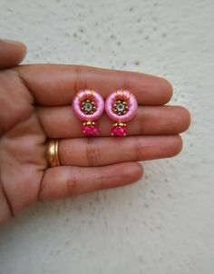 cute stud made with silk thread for a lovely customer.. plz visit our page https://m.facebook.com/ankaa.creations for more collections and hit a like button.. thank you :)