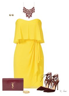 """Yellow"" by ksims-1 ❤ liked on Polyvore featuring Badgley Mischka, Charlotte Russe, Gianvito Rossi, Yves Saint Laurent, Chanel and Kate Spade"