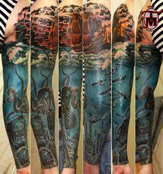 Kraken Sunken City tattoo sleeve