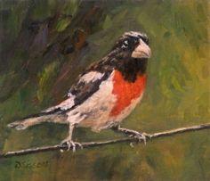 Rose Breasted Grosbeak Oil Painting Bird Art Fowl Wildlife Exotic, painting by artist Debra Sisson
