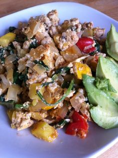 breakfast scramble: a leafy green, onions, tomatoes, corn, zucchini or other squash, green onion, bell peppers, eggs, fresh herbs if we have them!