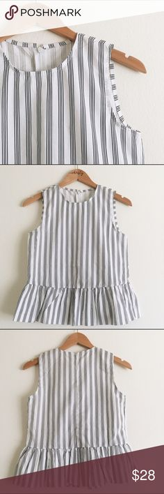 🎉 SALE🎉 Peplum blouse! NWOT--Striped peplum sleeveless top! It fits like an XS/S or 2/4. 100% polyester so it's a structured fit! NOT Anthropologie--just listed for exposure. Anthropologie Tops