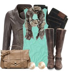 Casual Outfit With Mexx Scarf - love it though I'd ditch the pearls.