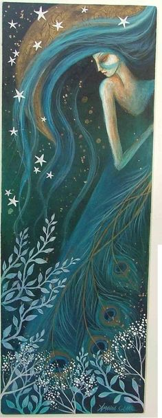 Earth Angels Art. Amanda Clark. Frosty days and yule. Teal, stars, long hair