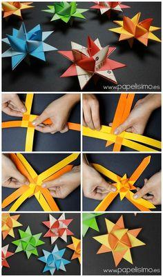 estrella de papel navidad origami froebel paper stars christmas Más