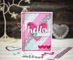Ginger Williams: Thinking of You Shaker Card, Heart Card, Queen and Company, Shaker Card Kit, Stripes