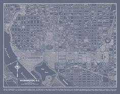 1944 Washington DC Street Map Vintage 20x30 Gray Map Print Poster