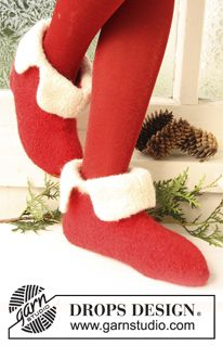 """DROPS felted slippers for Christmas in """"Eskimo"""". Size 21 to 48"""
