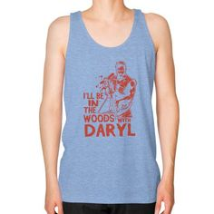 ILL BE IN THE WOODS Unisex Fine Jersey Tank (on man)