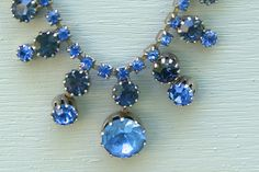 Vintage Blue Glass Rhinestone Necklace by EarlyBirdTwo on Etsy, $20.00