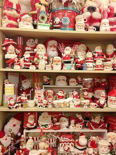- - Vintage Santa's collection - Vintage Christmas collectible Santa's - What an Excellent collection! Noel Christmas, Vintage Christmas Ornaments, Vintage Holiday, Winter Christmas, Christmas Crafts, Christmas Mantles, Victorian Christmas, Christmas Christmas, Xmas