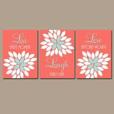 Live Laugh Love Wall Art Artwork Coral Aqua Custom Colors Flower Petals Set of 3…