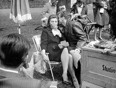 Maximilian Schell tells a funny story in Sophia Loren's ear between scenes of The Condemned of Altona