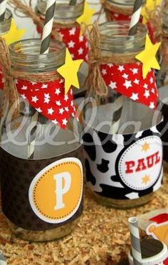 Decorated Cowboy Birthday Party drinks! See more party planning ideas at CatchMyParty.com!