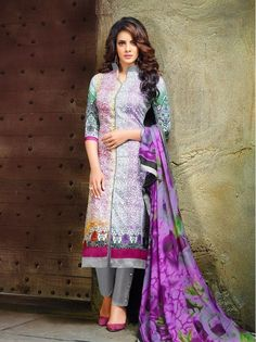 Khazanakart Alayna Multi Color, Pure cotton satin Print with Work Un-Stitched Dress Material