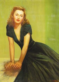 Canvas painting of Barbara Stanwyck, by actor and artist Charles Gemora (1903 - 1961)