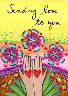 Greeting card : Sending Love 116-C by LoriPortka on Etsy