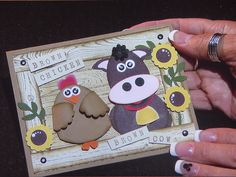 Punch art farm card with cow and chicken handmade card. Paper Punch Art, Punch Art Cards, Cricut Cards, Stampin Up Cards, Craft Punches, Animal Cards, Paper Cards, Flower Cards, Kids Cards