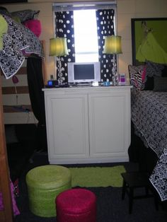Dorm Room Custom Piece That Holds Refrigerator And Microwave