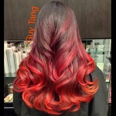 Fire colored Ombré inspired by the Dark Pheonix from X-Men - Hair/Hair Color/Hairstyle