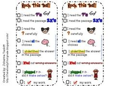 Rock This Test! Test Taking Strategy Bookmark from Fanatically First Grade