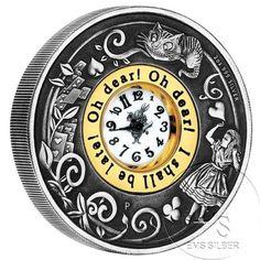 2 oz Tuvalu 150 Jahre Alice in Wonderland Uhr Münze Clock coin 2 Dollar in Münzen, Münzen International, Australien & Ozeanien, Sonstige | eBay