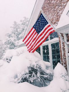 "emilygracefully: "" Snow fallin, Old Glory flyin "" American Spirit, American Pride, American Flag, American Girl, I Love America, God Bless America, Patriotic Pictures, Star Spangled Banner, Home Of The Brave"
