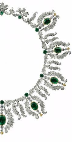 "This exquisite emerald and diamond necklace by Buccellati was part of the special ""Century of Creativity and Excellence"" exhibition dedicated to Buccellati held in Cortina, Italy, HT"