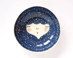 Blue ceramic serving bowl -Snow queen - face illustrated bowl - face plate by MarinskHandmades