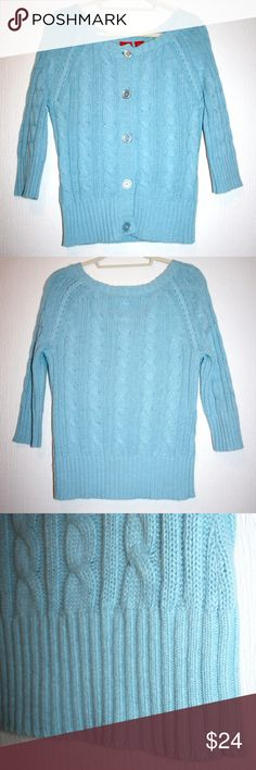 "Sky Blue 3/4 Sleeve Cable & Rib Knit Cardigan This cute sky blue cardigan features alternating cable and rib knit with contrasting chunky rib on cuffs & waistline. The super soft knit is 55% ramie, 16% nylon, 15% rabbit hair & 14% acrylic.   Measurements: bust is 18"" across measured pit to pit, waist 15"" across, length 24"" from shoulder to hem. The sleeve is 22"" long from the outside shoulder to cuff, 12"" long along inside pit to cuff.   Great pre-loved condition, only very slight pilling…"