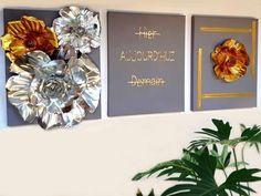 Ce tableau est réalisé avec des feuilles d'aluminium et feuilles métallisées. Il joue avec reliefs et brillance.  Nous vous invitons à visiter notre site si vous souhaitez lire notre tutoriel associé.
