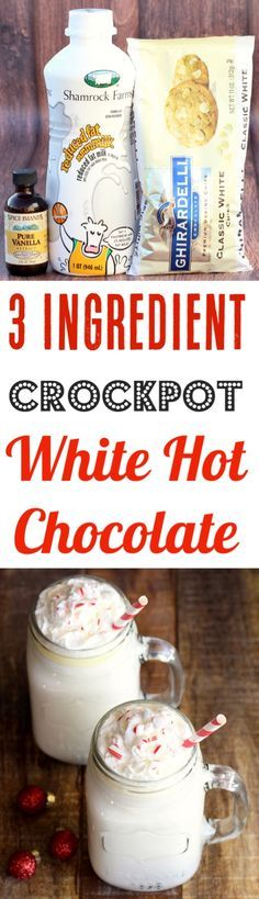 Crockpot White Hot Chocolate Recipe! This Easy Slow Cooker Party Drink is creamy, delicious, and perfect for chilly days or holiday parties! Just 3 Ingredients!!