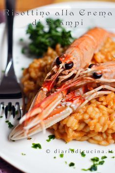 Risotto with scampi cream Korn, Quinoa Rice, Linguine, Ravioli, Gnocchi, Rice Recipes, Italian Recipes, Love Food, Mamma