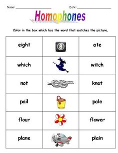 Homonyms: Homophones Activities $
