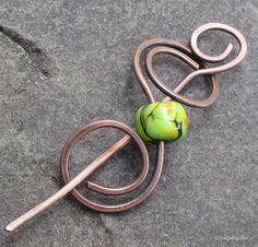 Antiqued Copper Lampwork Shawl Pin, Hair Barrette - Agrandir trou et passer avant d'aplatir 2ème côté.