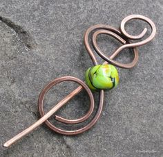 Antiqued Copper Lampwork Shawl Pin, Hair Barrette - Hand Forged Metalwork Spiral Design by DesignsbyCher, via Etsy.