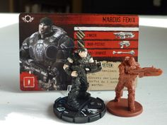 Gears of war: The Gears of war hero minis very much look alike, which often leads to players taking other player's minis for their own. By substituting the original minis with cheap heroclix Gears of War minis one can solve this problem easily.