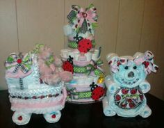 Adorable! Ladybug Diaper Cake, Diaper Stroller and Diaper Bear