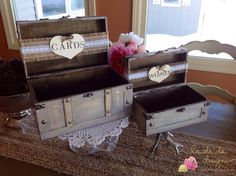 Rustic Wedding Card Box With Burlap Banner Advice by ladedadesign, $62.99
