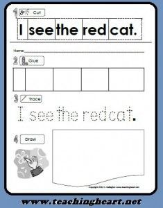 Free Printable Sight Word Pre-Primer Dolch Activity Sheet. Read, Cut, Glue, Trace, and Draw Practice with sight words from Teaching Heart. www.teachingheart.net
