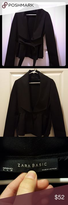 Zara Basic Belted Peplum Jacket. Beautiful staple piece for your Wardrobe in EUC. Single button closure (button is a little loose but could be sewn tighter easily) with attached belt/sash. Jacket has peplum on front with a wide collar and lapel. It is slightly heavy and the material feels similar to a ponte knit. Was just dry cleaned and is ready to wear. Zara Jackets & Coats