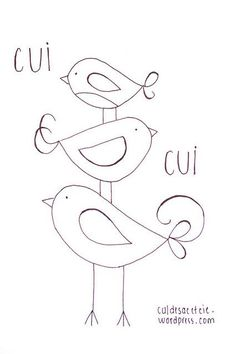 free embroidery pattern stacked birdies